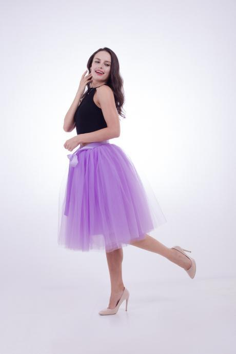 6 Layers Midi Tulle Skirts Womens Tutu Skirt Elegant Wedding Bridal Bridesmaid Skirt Lolita Underskirt Petticoat lilac
