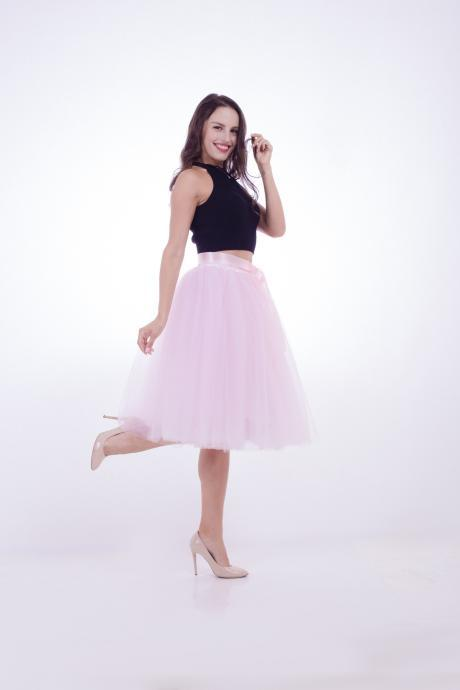 6 Layers Midi Tulle Skirts Womens Tutu Skirt Elegant Wedding Bridal Bridesmaid Skirt Lolita Underskirt Petticoat pink