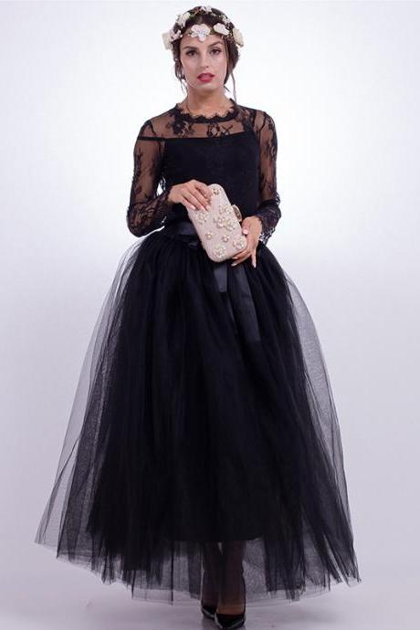 6 Layers Tulle Skirt Summer Maxi Long Muslim Skirt Womens Elastic Waist Lolita Tutu Skirts black