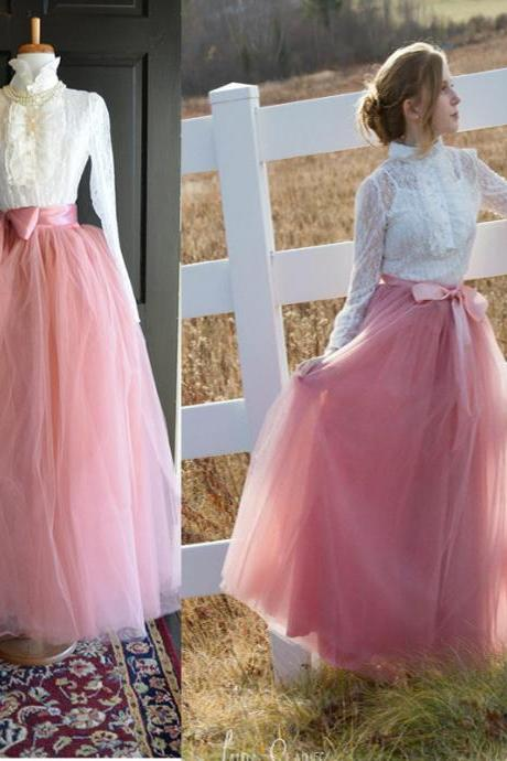 6 Layers Tulle Skirt Summer Maxi Long Muslim Skirt Womens Elastic Waist Lolita Tutu Skirts blush