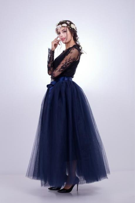 d93b0be37e3 6 Layers Tulle Skirt Summer Maxi Long Muslim Skirt Womens Elastic Waist  Lolita Tutu Skirts navy