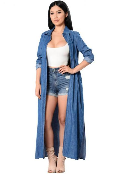 Maxi Long Denim Trench Coat Women Long Sleeve Side Split Jeans Cardigan Spring Autumn Overalls Windbreakers AS PIC