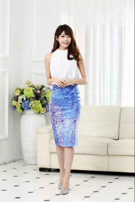 Womens Knee Length Sexy Midi Skirts Mermaid Floral Print High Waist Pencil Skirt Slim Bodycon Elastic Skirts 3#