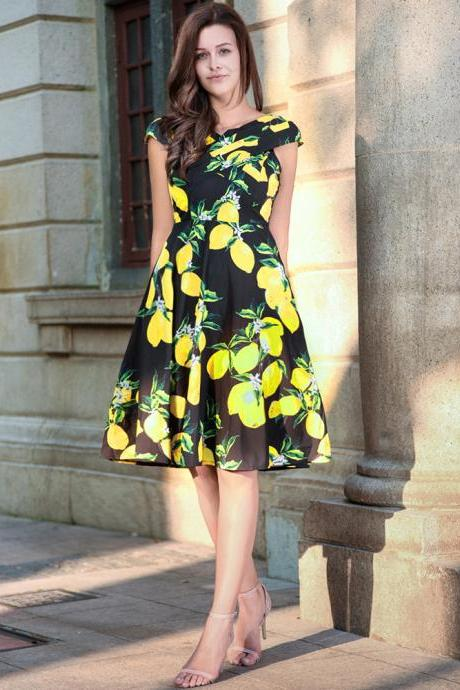 Vintage 50s 60s Floral Printed Women Cusual Dress Cross V-Neck Cap Sleeve Rockabilly Pinup Big Swing A Line Short Party Dress C851-black