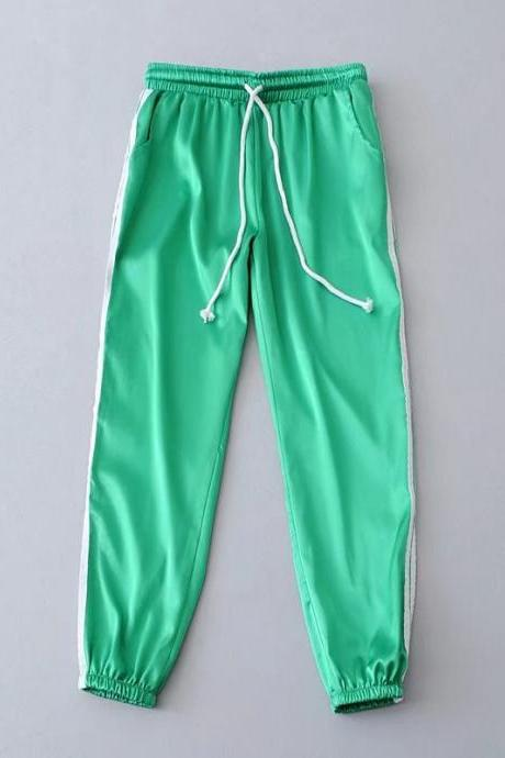 Sweatpants Women Sport Pants Joggers Casual Harlan Yoga Gym Side Striped Drawstring High Waist Lady Femme Trousers green