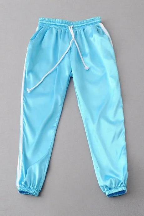 Sky Blue Casual Trousers, Joggers, Sweatpants with Side White Stripe