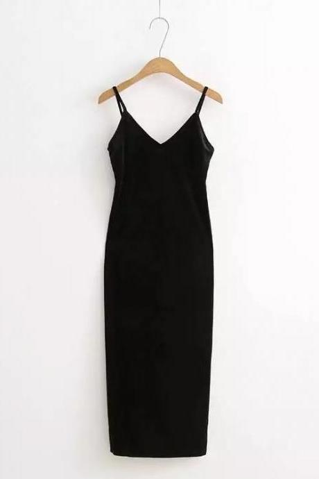 Sexy Velvet Cami Dress Slim Backless V-Neck Spaghetti Strap Evening Party Robe Side Split Long Dress black
