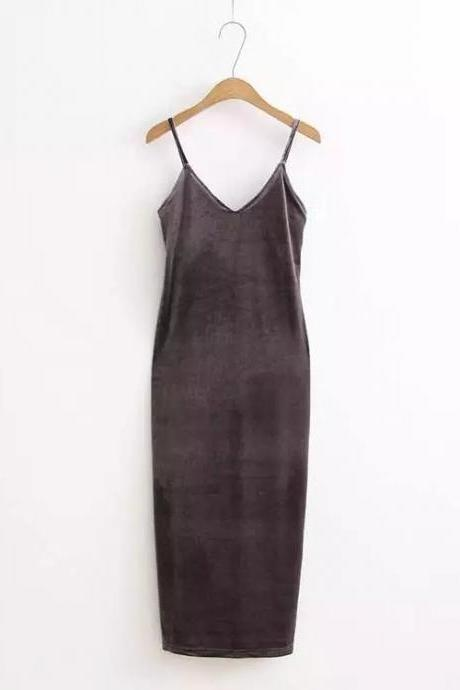 Sexy Velvet Cami Dress Slim Backless V-Neck Spaghetti Strap Evening Party Robe Side Split Long Dress gray