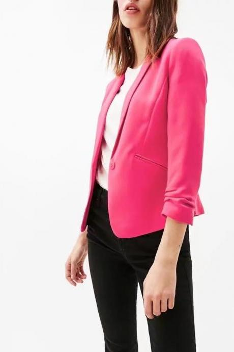 Spring Autumn Candy-colored Blazer 3/4 Sleeve Notched OL Slim Office Women Lady Suits Short Coat Casual Jacket hot pink