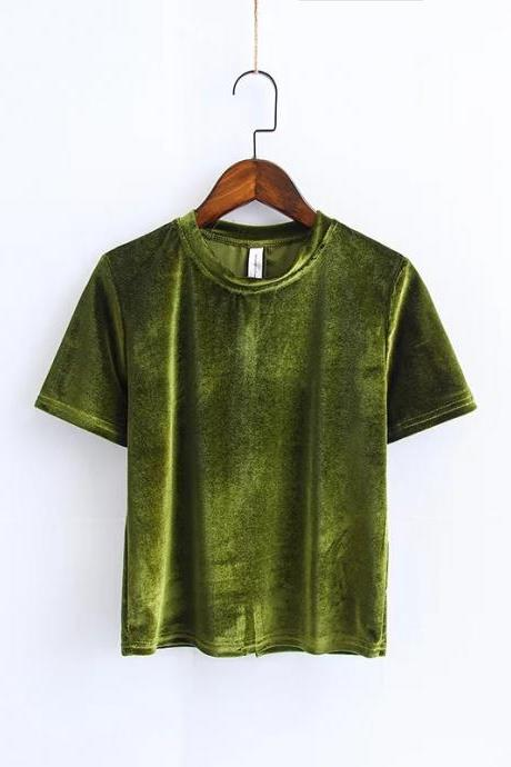 Velvet Crew Neck Short Sleeves Top in Olive