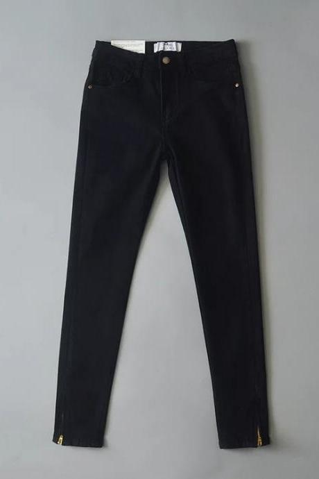 Assorted Colour High Waisted Skinny Jeans with Zipper
