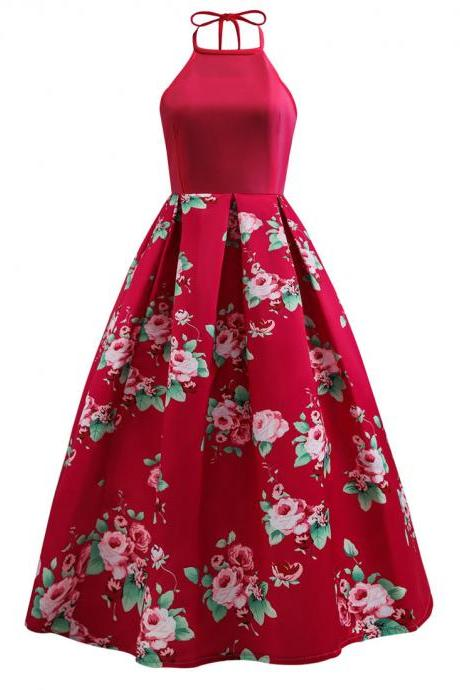 Women Floral Formal Prom Party Dress Big Swing Halter Neck Sleeveless Lady A Line Long Maxi Dress red