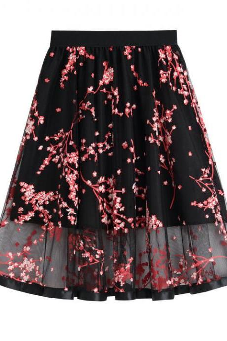 Chic Lace Floral Printed Mesh Casual A-line Skirt Elegant Lady Elastic High Waist Midi Skirts Red