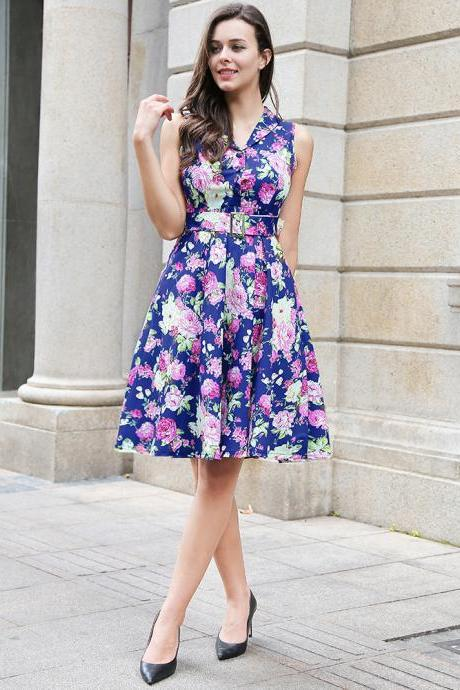 Audrey Hepburn Robe Retro Rockabilly Dress V Neck Belted Knee Length Jurken 50s 60s Swing Floral Printed Pin up Women Casual Vintage Dress W00833-royal blue