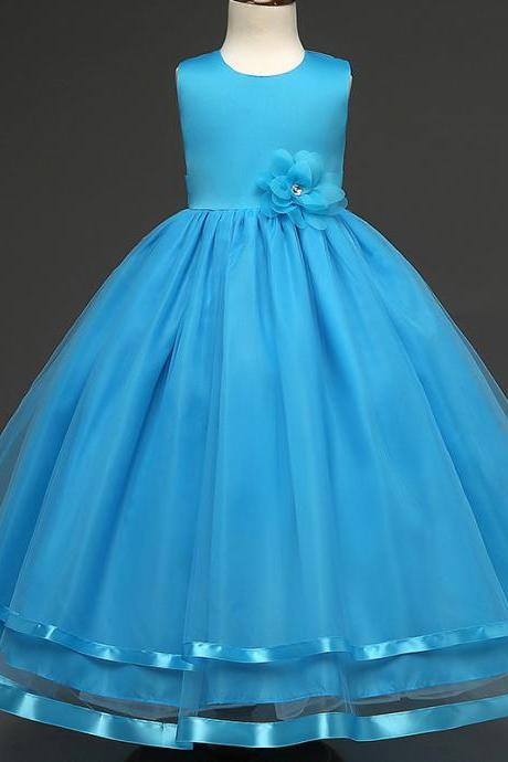 Kids Girls Party Wear Costume For Children Summer Princess Wedding Dress Girls Ceremonies Teenagers Prom Dresses Formal Vestidos blue