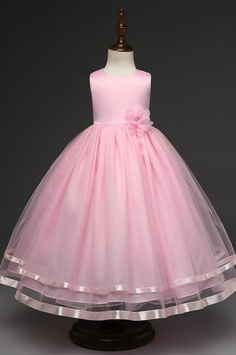 Kids Girls Party Wear Costume For Children Summer Princess Wedding Dress Girls Ceremonies Teenagers Prom Dresses Formal Vestidos pink