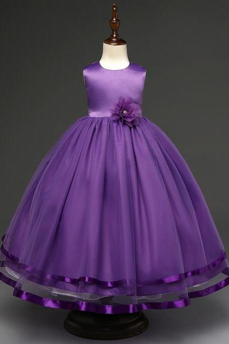Kids Girls Party Wear Costume For Children Summer Princess Wedding Dress Girls Ceremonies Teenagers Prom Dresses Formal Vestidos purple
