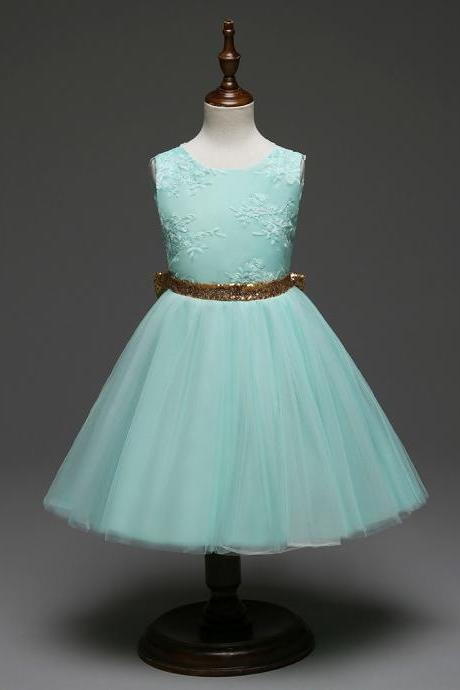 Infant Baby Girl dress Sequined Bow Backless Party Prom Princess Tulle Tutu Wedding Dress Children clothing aqua