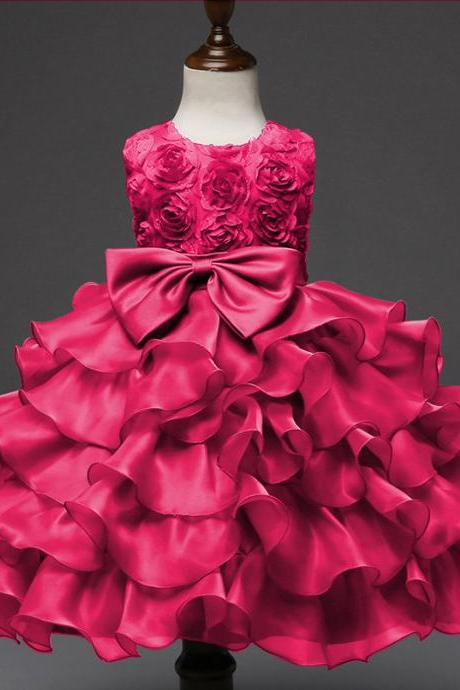 Infant Baby Girl dress, Sequined Girl dress,Backless Bow Girl dress, Party Girl dress,Prom Girl dress,Princess Girl dress,Tulle Girl dress,Tutu Wedding Dress ,Children clothing hot pink