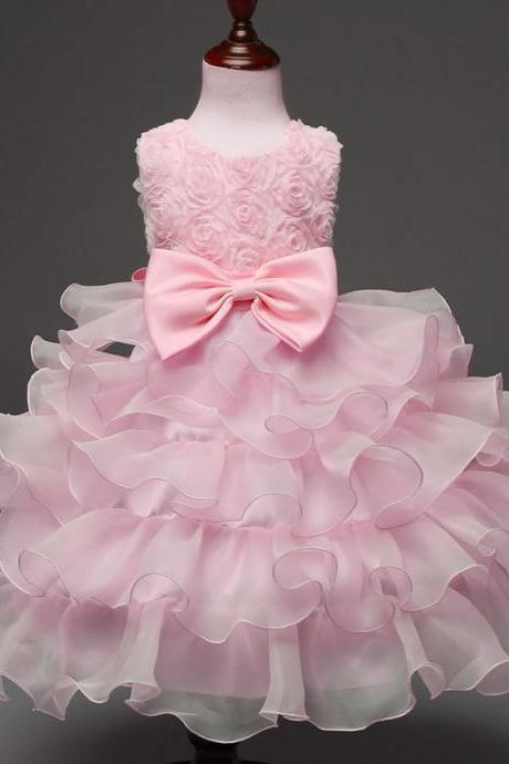 Baby Girl Christening Gowns Newborn Birthday Dress Fuffly Baby Lace Bow Infant Princess Costume 0-2Years pink