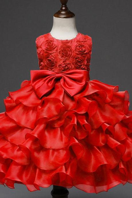 Baby Girl Christening Gowns Newborn Birthday Dress Fuffly Baby Lace Bow Infant Princess Costume 0-2Years red