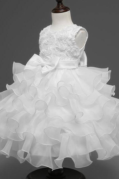 Baby Girl Christening Gowns Newborn Birthday Dress Fuffly Baby Lace Bow Infant Princess Costume 0-2Years white