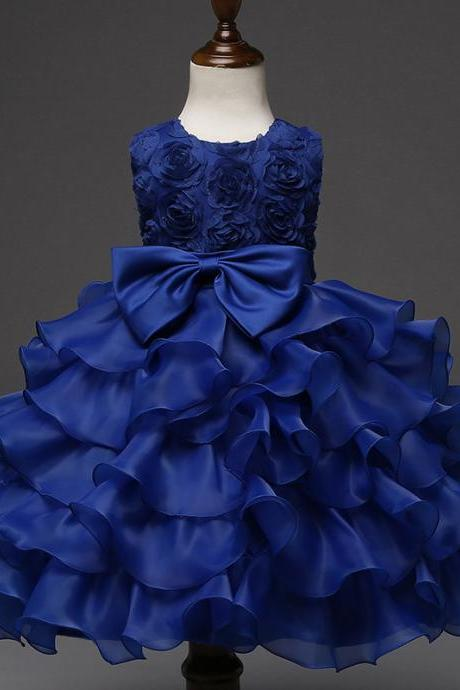 Baby Girl Christening Gowns Newborn Birthday Dress Fuffly Baby Lace Bow Infant Princess Costume 0-2Years royal blue