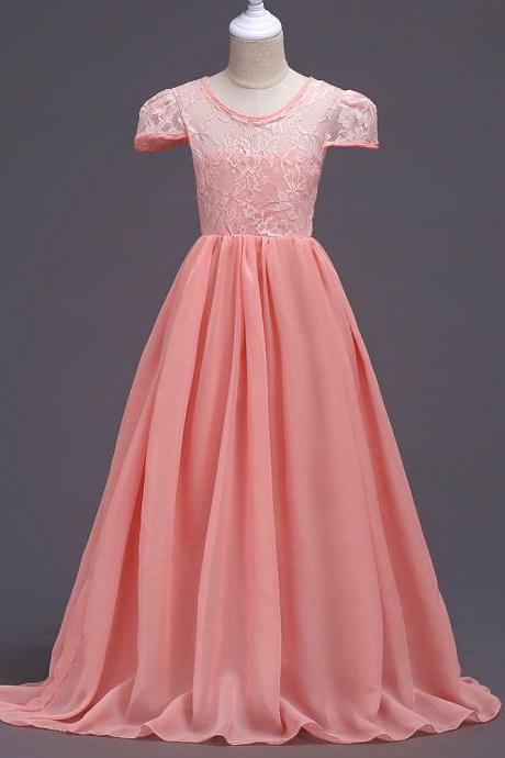 Summer Junior Girls Wedding Dress Cap Sleeve Floor Length Chiffon Princess Party Dresses Children Kids Formal Bridal Dress coral