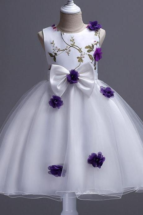 Flower Girls Dress Big Bow Sweet Kids Princess Ball Gown Wedding Birthday Prom Evening Party Dress Children Clothes purple