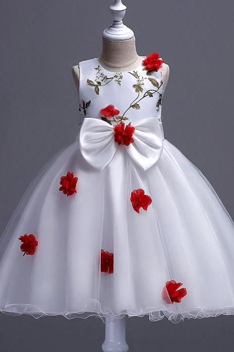 Flower Girls Dress Big Bow Sweet Kids Princess Ball Gown Wedding Birthday Prom Evening Party Dress Children Clothes red