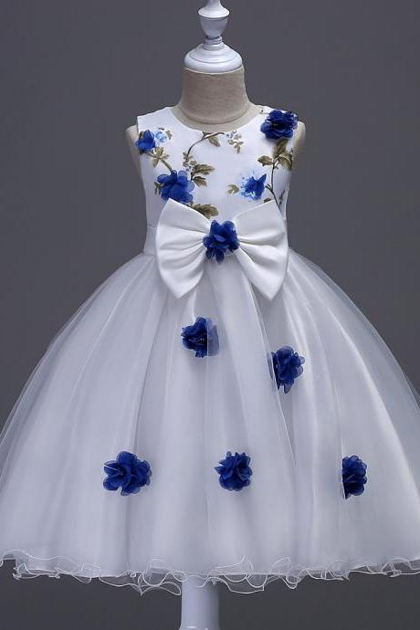 Flower Girls Dress Big Bow Sweet Kids Princess Ball Gown Wedding Birthday Prom Evening Party Dress Children Clothes royal blue