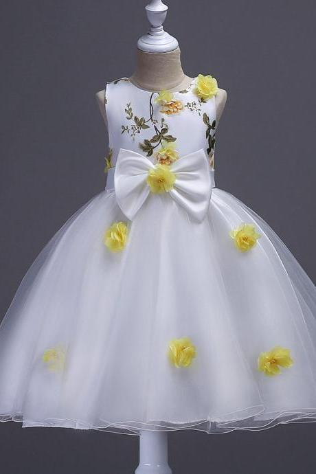 Flower Girls Dress Big Bow Sweet Kids Princess Ball Gown Wedding Birthday Prom Evening Party Dress Children Clothes yellow