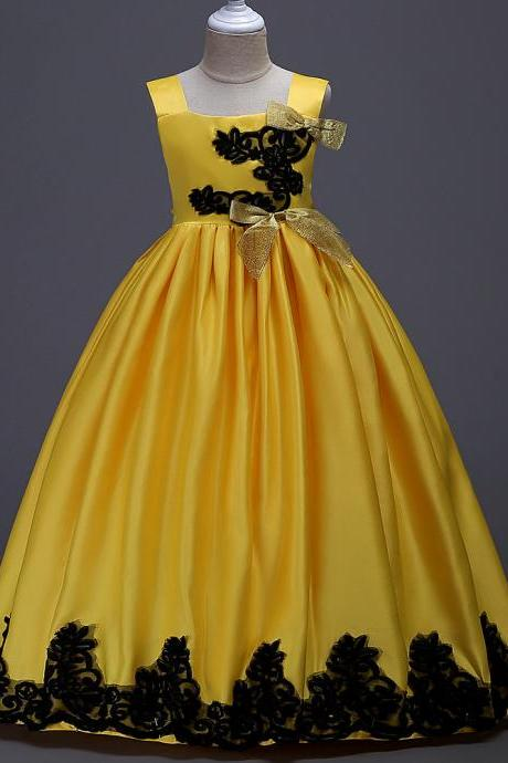Long Party Pageant Prom Dresses Satin Formal Flower Girl Ball Gown Teens Junior Kids Children Clothes yellow