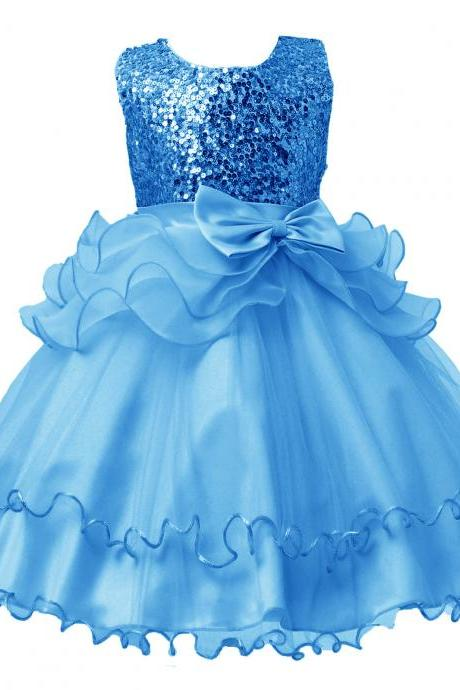 2017 Sequined Party Prom Birthday Dress Kids Ruffled Princess Flower Girls Dress Kids Baby Clothes blue