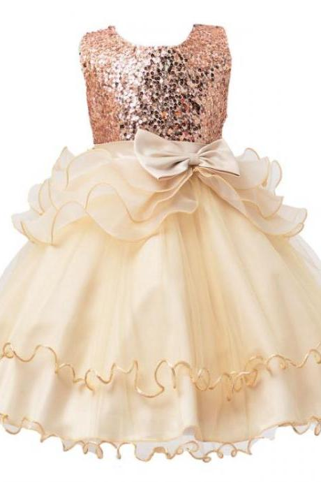 2017 Sequined Party Prom Birthday Dress Kids Ruffled Princess Flower Girls Dress Kids Baby Clothes champagne