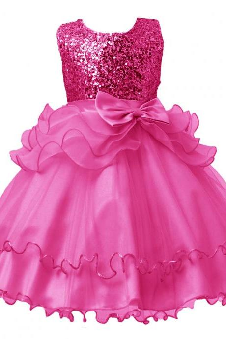 2017 Sequined Party Prom Birthday Dress Kids Ruffled Princess Flower Girls Dress Kids Baby Clothes hot pink