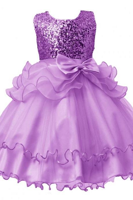 2017 Sequined Party Prom Birthday Dress Kids Ruffled Princess Flower Girls Dress Kids Baby Clothes lilac