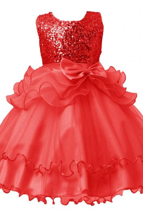2017 Sequined Party Prom Birthday Dress Kids Ruffled Princess Flower Girls Dress Kids Baby Clothes red
