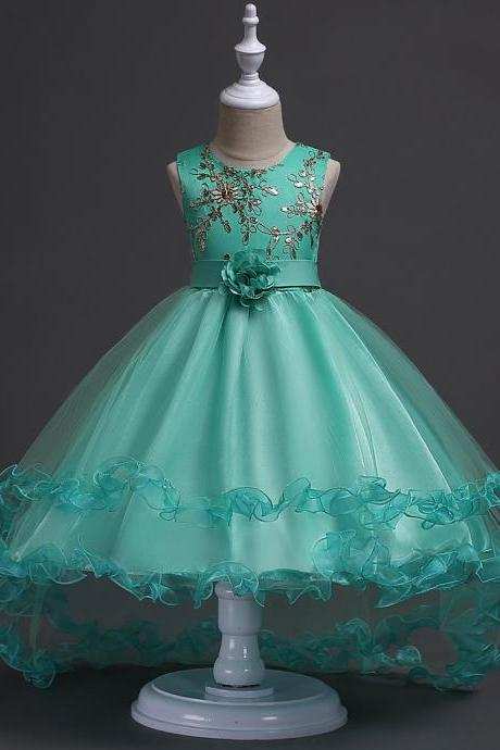 Short Front Long Back High Low Flower Girls Junior Wedding Dresses Kids Trailing Party Prom Gowns Children Clothing aqua