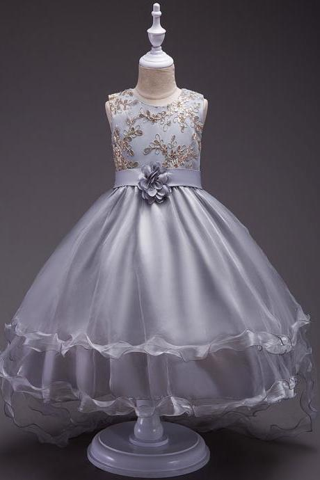 Short Front Long Back High Low Flower Girls Junior Wedding Dresses Kids Trailing Party Prom Gowns Children Clothing gray