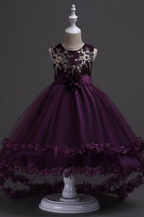 Short Front Long Back High Low Flower Girls Junior Wedding Dresses Kids Trailing Party Prom Gowns Children Clothing plum