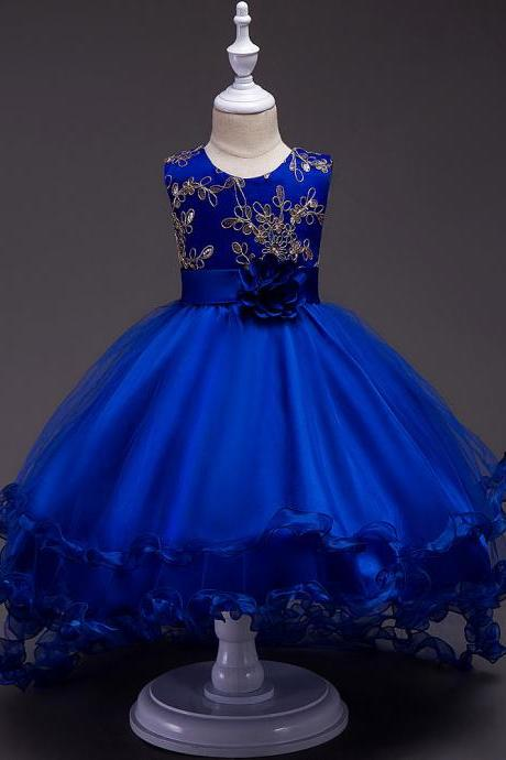 Short Front Long Back High Low Flower Girls Junior Wedding Dresses Kids Trailing Party Prom Gowns Children Clothing royal blue