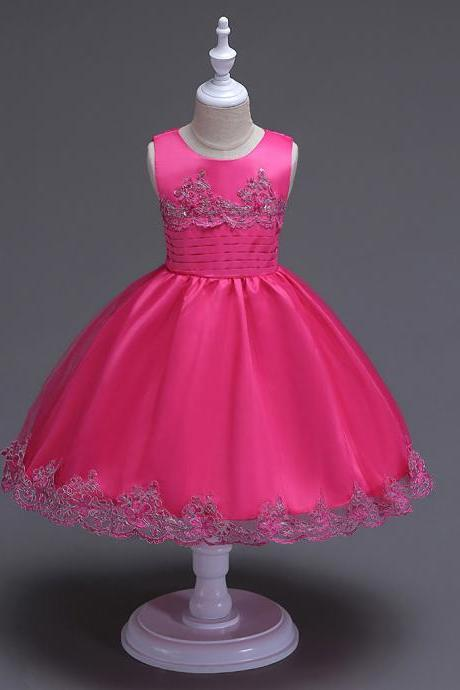 2017 Brand Quality Girls Tutu Dress Embroidery Flower Lace Kids Clothes Princess Prom Party Wear hot pink