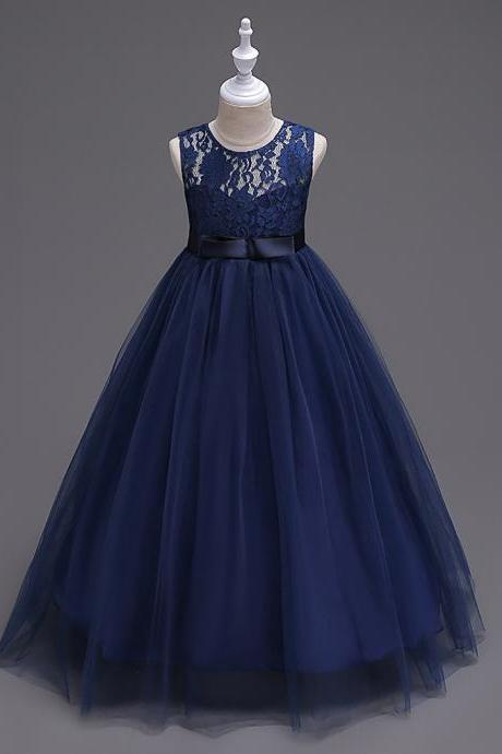 Princess Lace Flowers Girl Dress Summer A Line Prom Party Dress Children Kids Clothing navy blue