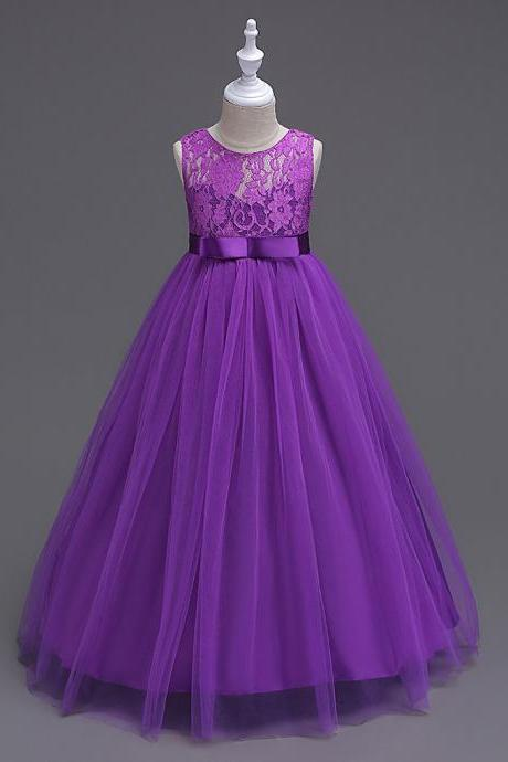 Princess Lace Flowers Girl Dress Summer A Line Prom Party Dress Children Kids Clothing champagne
