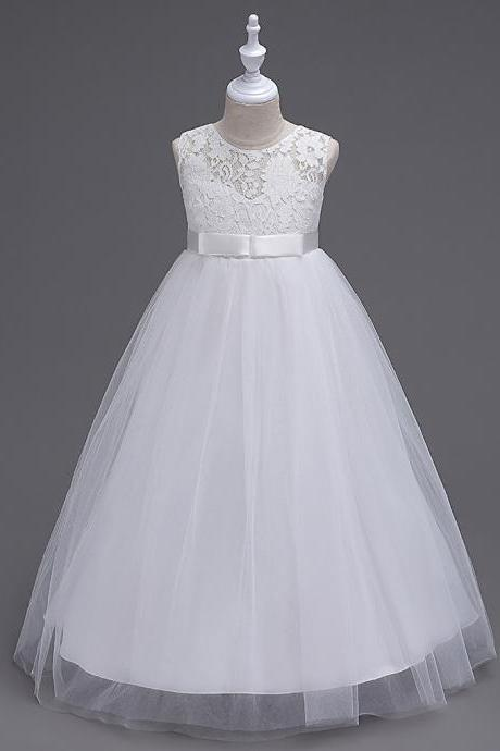 Princess Lace Flowers Girl Dress Summer A Line Prom Party Dress Children Kids Clothing white