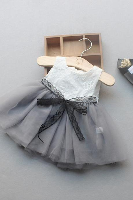 Flower Girl Princess Dress Tutu Infant Baby Kids Clothing Summer Toddler Children Clothes gray