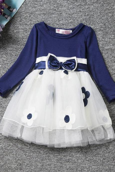 Infant Children Baby Girls Clothes Princess Bow Flower Printed Bow Long Sleeve Party Tulle Tutu Dress navy blue