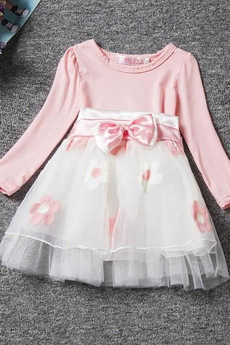 Infant Children Baby Girls Clothes Princess Bow Flower Printed Bow Long Sleeve Party Tulle Tutu Dress pink
