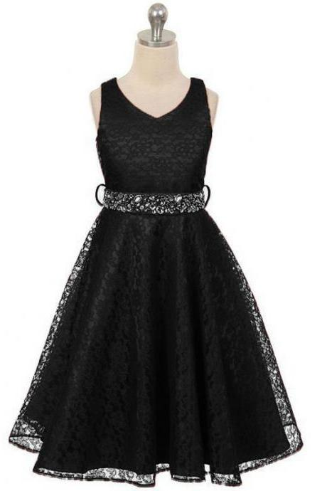 Lace Flower Girls Dress Children Clothing Beaded Party Princess Baby Kids Prom Party Dress Teen Costume black
